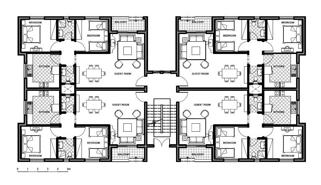 Low income housing floor plans modular home core module by for Apartment building plans 4 units