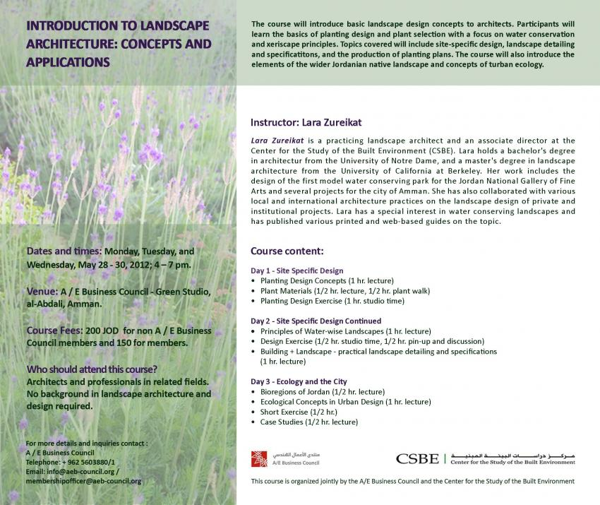 Introduction To Landscape Architecture Concepts And Applications Course  Flyer Csbe